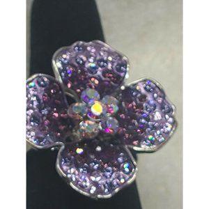 Guess purple flower rhinestone ring size 8